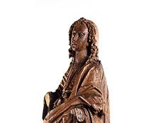 Detail images: Schnitzfigur des Heiligen Johannes Evangelist