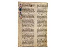 Detail images: Fragment aus einer Riesenbibel des 12. Jahrhunderts.