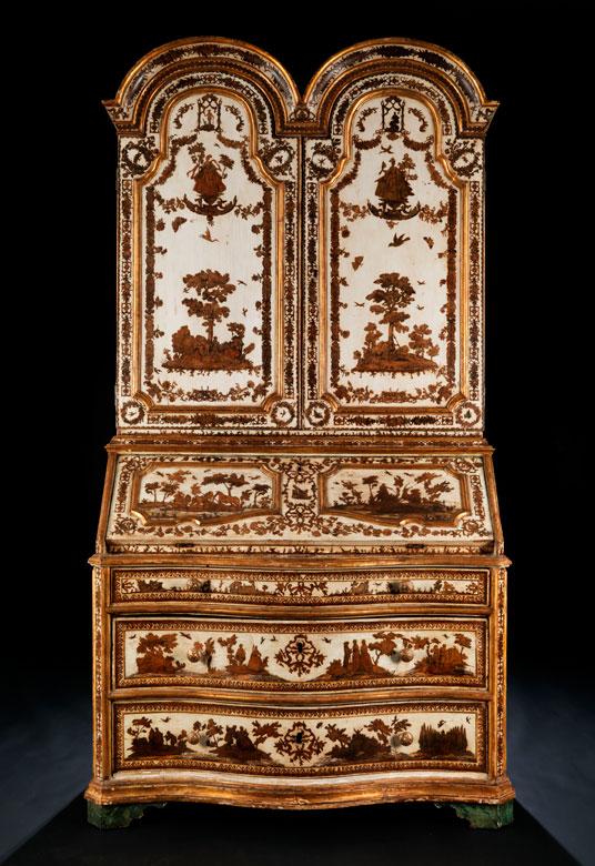 Äußerst seltener und eleganter venezianischer Lack-Aufsatzschrank