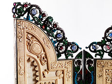 Detailabbildung: Bedeutendes Triptychon in Elfenbein, Silber, Email und Steinbesatz, dem Thema des römischen Kaisers Marc Aurel, 121 - 180 n. Chr., gewidmet