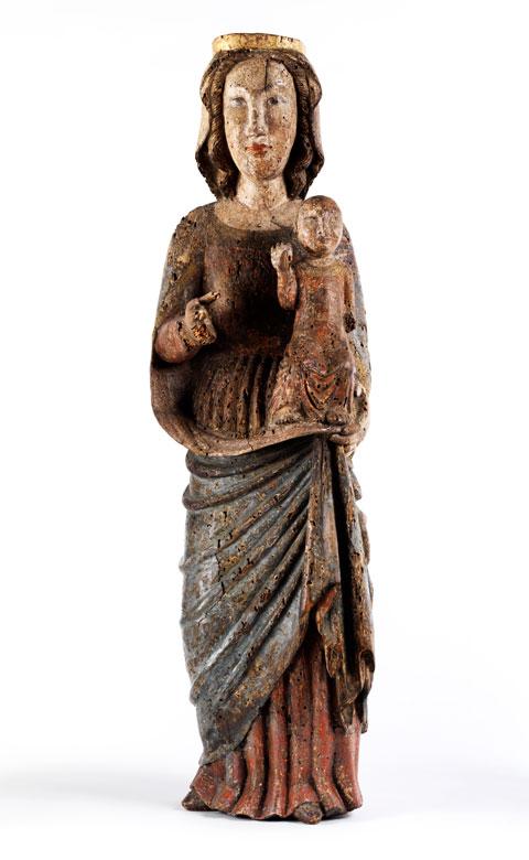 Schnitzfigur einer Madonna mit Kind eines oberrheinischen Meisters des 13. Jahrhunderts