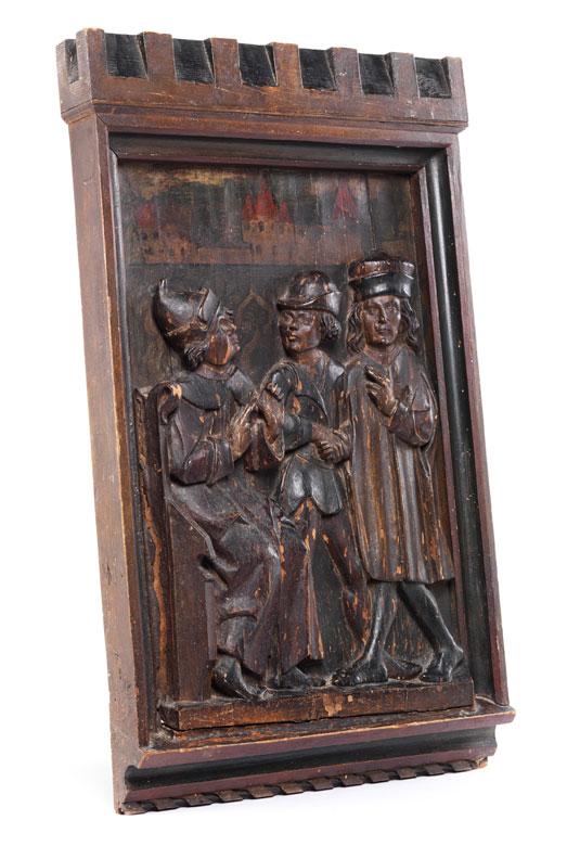 Figürliche Reliefschnitzerei im hochgotischen Stil