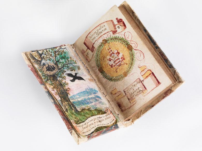 Emblembuch 1584 mit zwei Gouachen