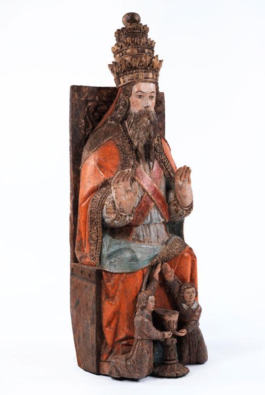 Große Schnitzfigur des thronenden Gottvaters