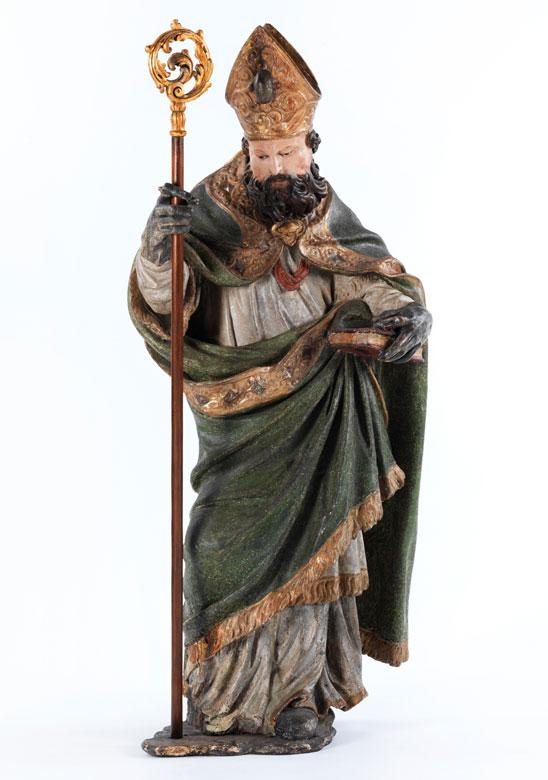 Barocke Schnitzfigur des Heiligen Augustinus