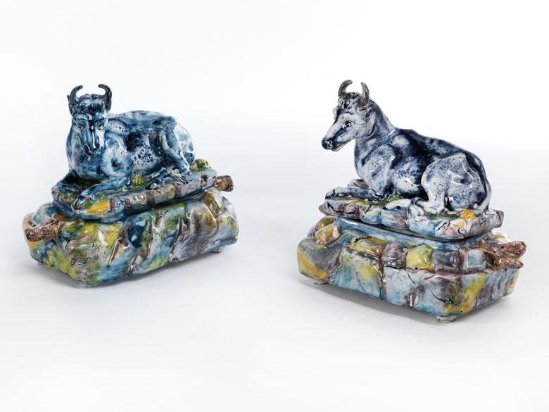 Paar seltene Brüsseler Fayence-Deckeldosen