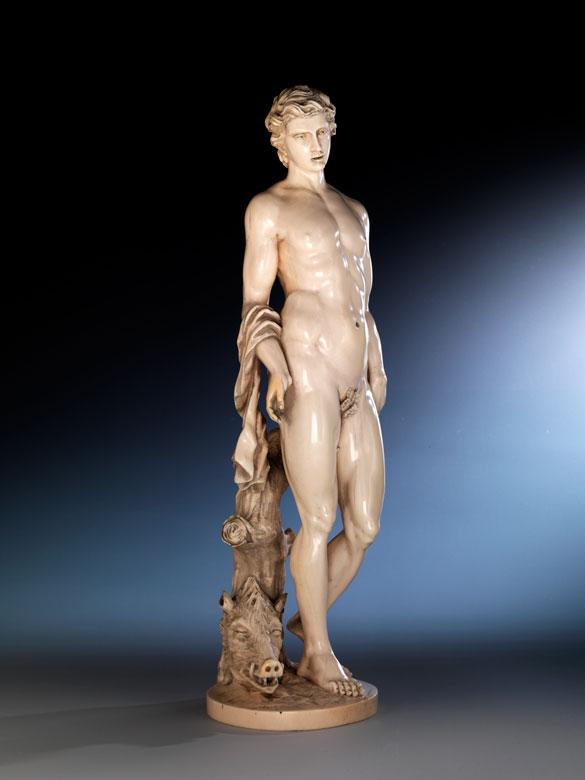 Elfenbeinfigur des nackten griechischen Helden Meleagros
