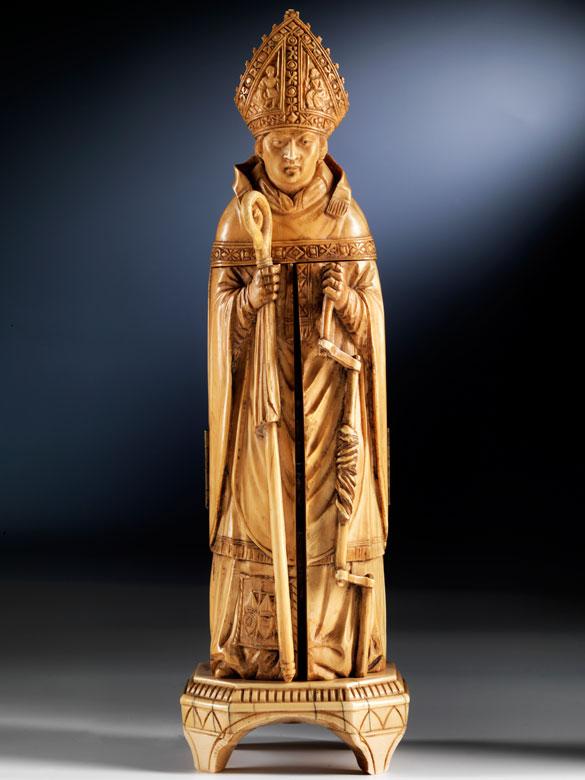 Klappaltar in Elfenbein, in Gestalt des Hl. Erasmus, Bischof von Antiochia