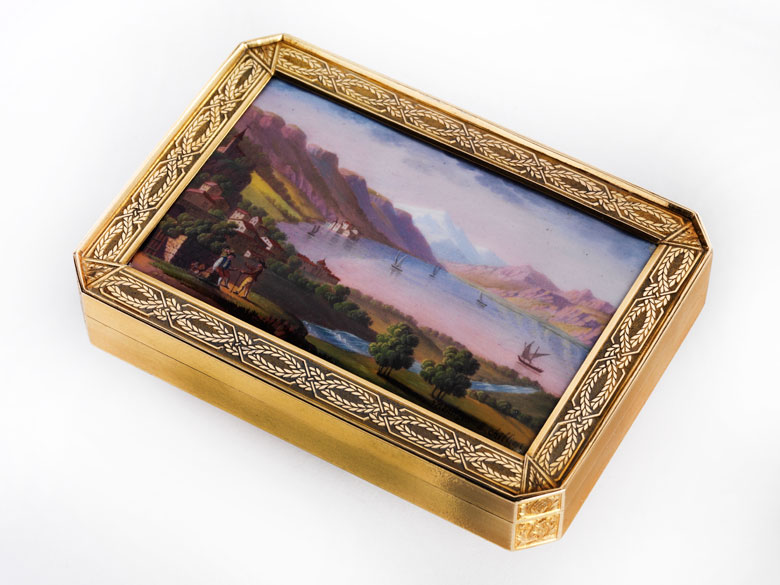 Golddose mit Genfer Landschaftsdarstellung in Emailmalerei