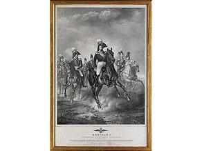 Große Lithographie Zar Nikolaus I (1796 - 1855) zu Pferd mit Begleitern