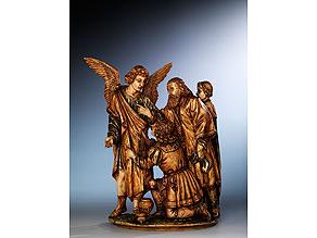 In Elfenbein geschnitzte Figurengruppe mit Darstellung eines Engels und vier Stifterfiguren