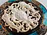 Detail images: Runde Silberdose mit Emaildekor und Elfenbein-Reliefschnitzerei