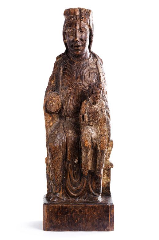 Frühgotische Schnitzfigur einer Madonna mit Kind