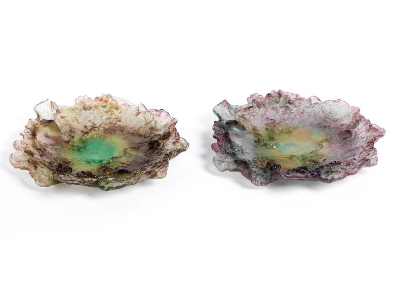 Paar Glasteller der französischen Manufaktur Daum