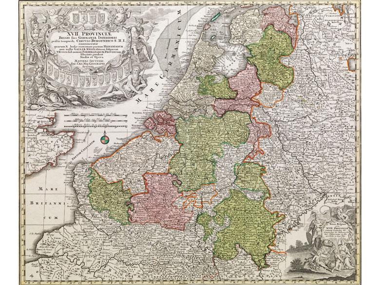 Gestochene Landkarte der Niederlande, Teile Belgiens und Deutschlands sowie dem Ärmelkanal