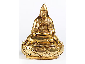 Feuervergoldete Bronze eines tibetischen Lamas