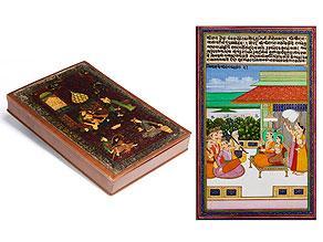 Lederkassette mit neun persischen Miniaturen