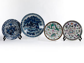 Konvolut von vier chinesischen Tellern