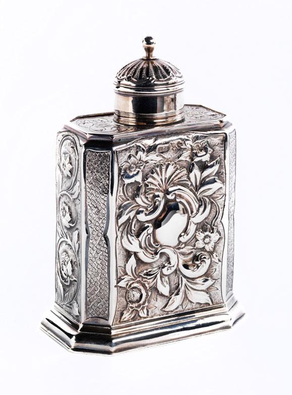 Silber-Teedose