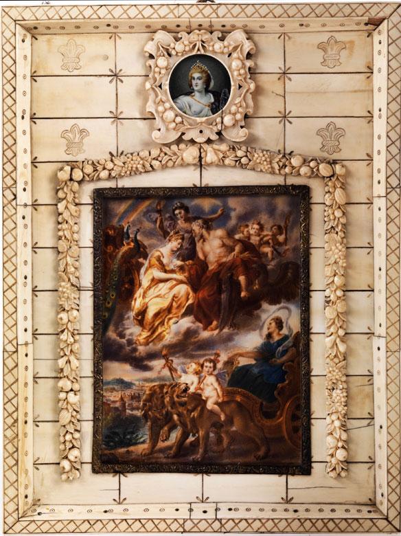 Miniaturportrait der Maria de Medici über einem größeren Miniaturgemälde aus dem sog. Medici-Zyklus (1621 - 1625)