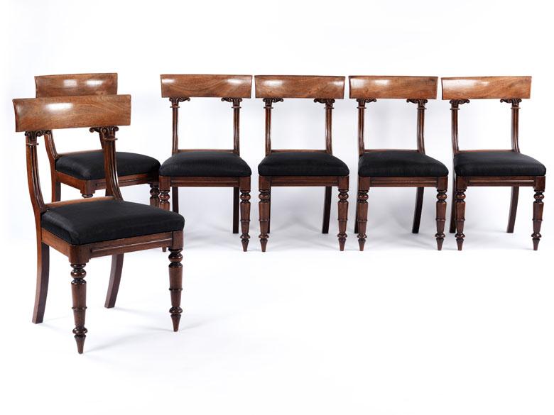 Satz von sechs englischen Mahagoni-Stühlen