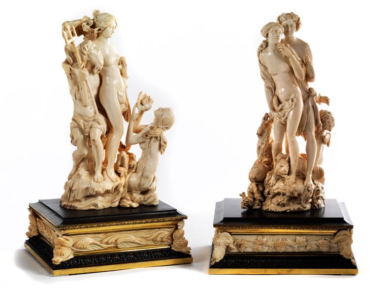 Figurengruppenpaare in Elfenbein