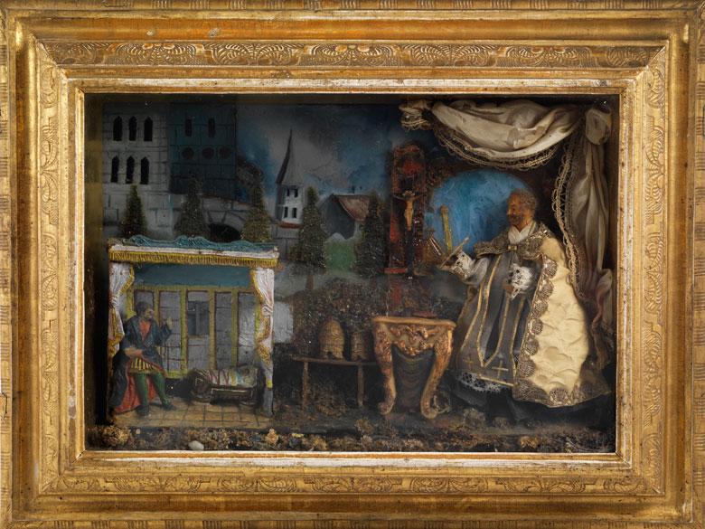 Seltener, großer Eingerichtkasten mit Bezug auf die Legende des Heiligen Bernhard von Clairvaux (um 1090 - 1153)