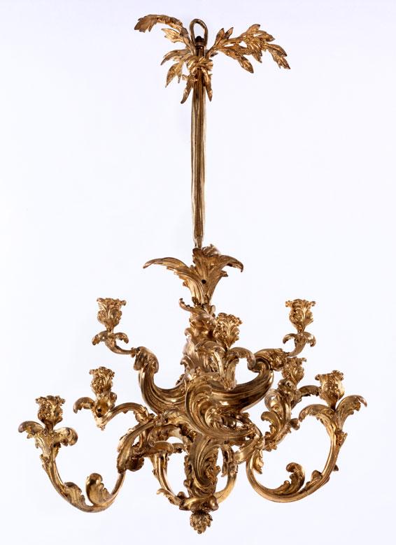 Rokoko-Hängelüster in Bronze und Feuervergoldung