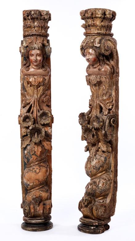 Paar große, geschnitzte und gefasste Hermenpfeiler