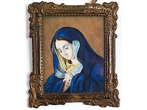 Miniaturbildnis einer betenden Maria in blauem Mantel