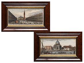 Paar kolorierte, italienische Stiche
