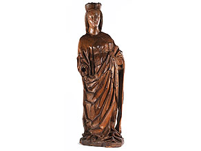 Gotische Schnitzfigur einer weiblichen Heiligen