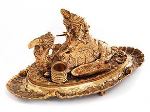 Schreibtischgarnitur in Bronze und Vergoldung