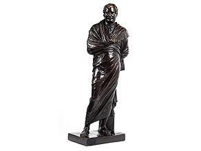Standfigur eines römisch-griechischen Philosophen in Toga mit Stand- und Spielbein