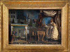 Detail images:  Seltener, großer Eingerichtkasten mit Bezug auf die Legende des Heiligen Bernhard von Clairvaux (um 1090 - 1153)