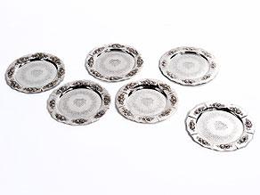 Satz von sechs Platztellern in Silber