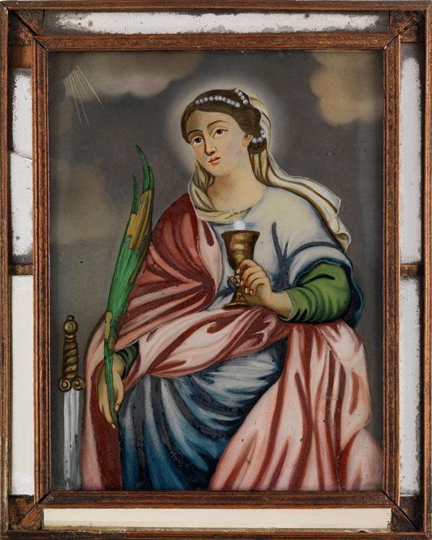 Hinterglasbild mit Darstellung der Heiligen Katharina