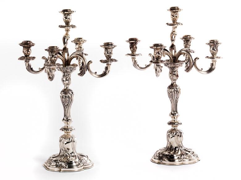 Paar Silbergirandolen im Rokoko-Stil