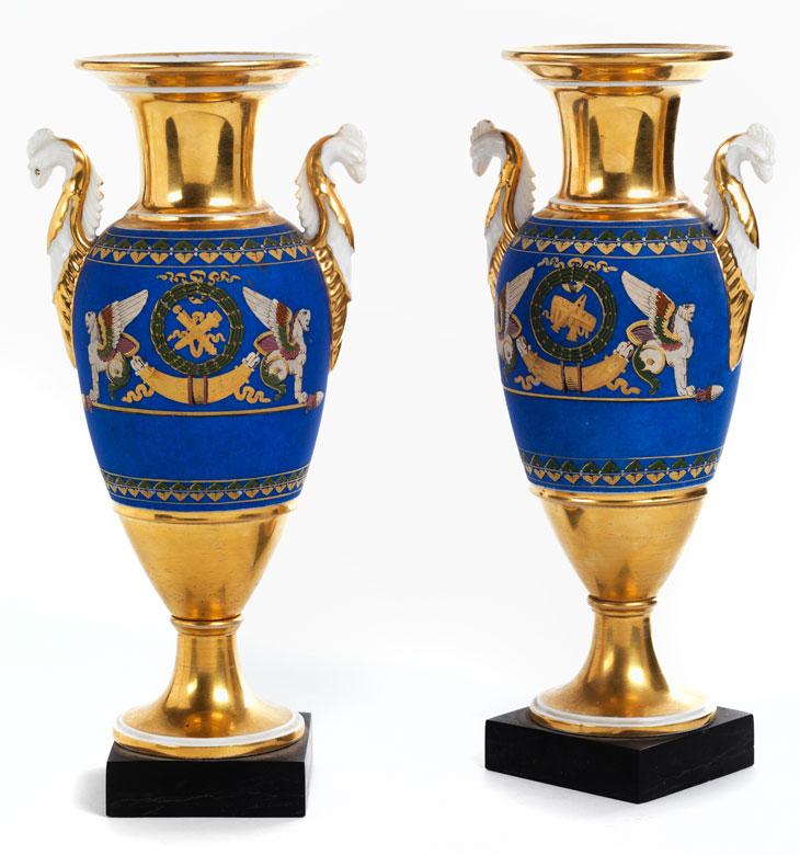 Paar Empire-Porzellanziervasen