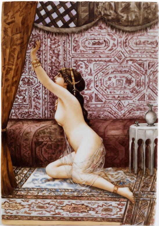 Porzellanbild mit Darstellung einer nackten Odaliske