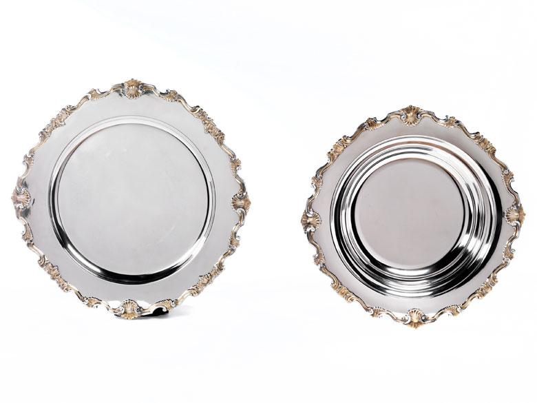 Großes, italienisches Silberbecken mit passendem Unterteller