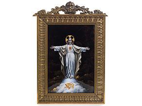 Bildplatte in Limoges-Emailmalerei mit Darstellung des auferstandenen Christus