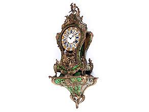 Große Louis XV-Pendule mit grüner Boulle-Dekoration