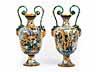 Detail images: Paar große, italienische Majolika-Amphorenvasen