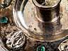 Detail images: Großer Handkerzenhalter in Silber mit Steinbesatz