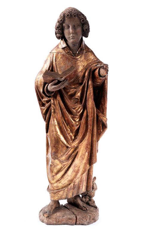 Spätgotische Schnitzfigur des Heiligen Johannes Evangelist