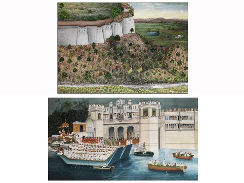 Paar indische Gouache-Gemälde