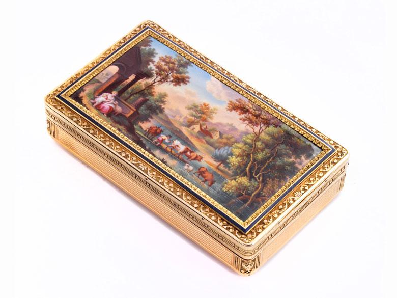 Golddose mit Email-Landschaftsmalerei