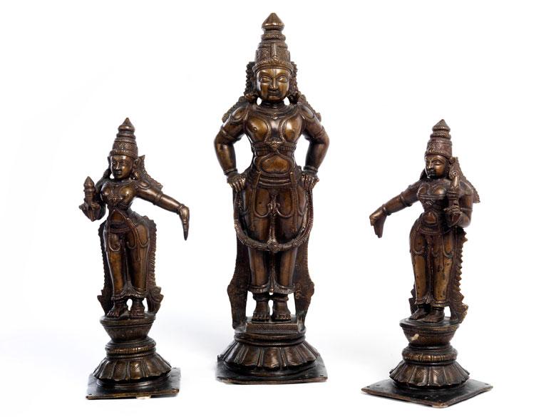 Drei indische Bronzefiguren