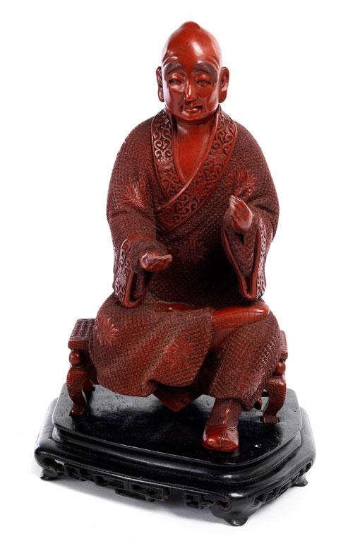 Chinesische Rotlackfigur eines buddhistischen Lehrers